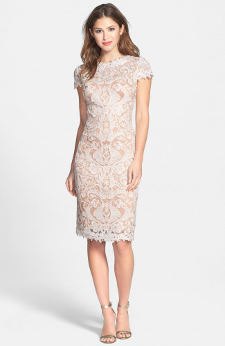 Illusion Yoke Lace Sheath Dress